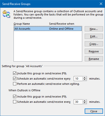 Send/Receive Groups - Schedule an automatic send/receive every 10 minutes.